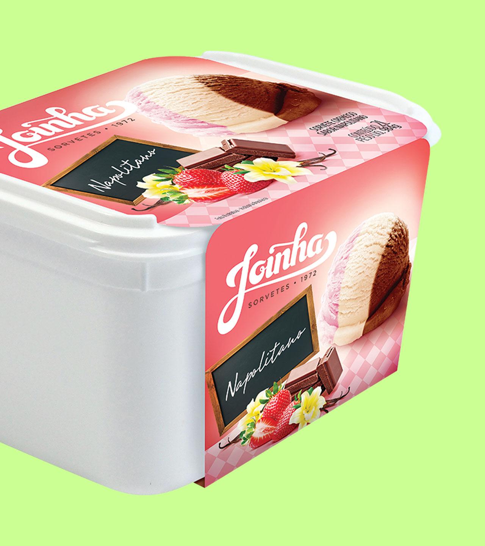 Embalagem de pote de sorvete Joinha