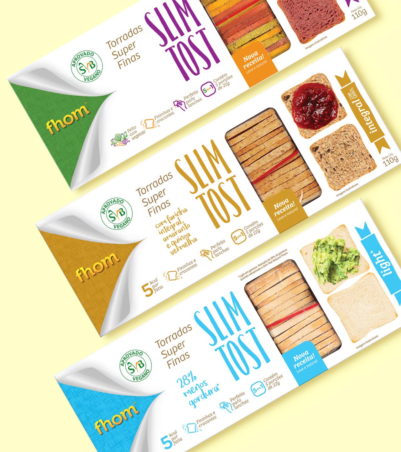 Embalagens premiadas Slim Tost - Linha Padaria Fhom